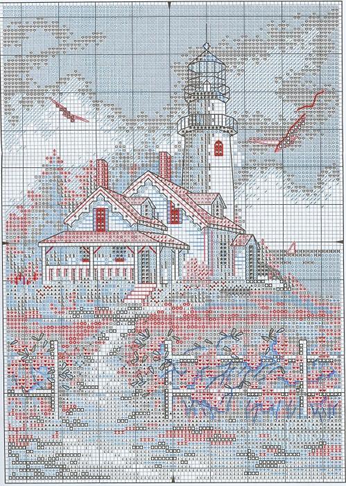 Схема вышивки Живописный маяк (Dimensions) .