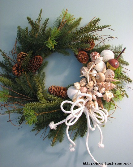 pine wreath w shells (430x542, 160Kb)