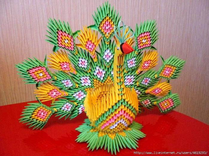 схема мишки модульное оригами.