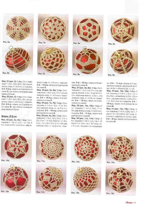 Esferas para el Arbol de Navidad con deco al crochet | Crochet y Dos ...