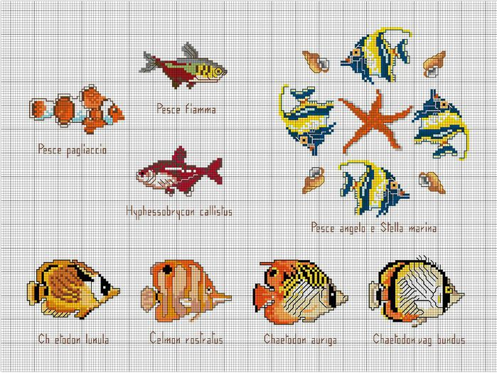 Вышивка крестом рыбки схемы