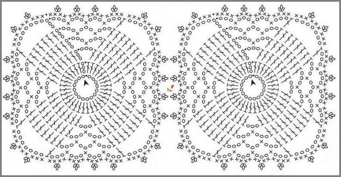 Схемы для вязания крючком салфетки из мотивов