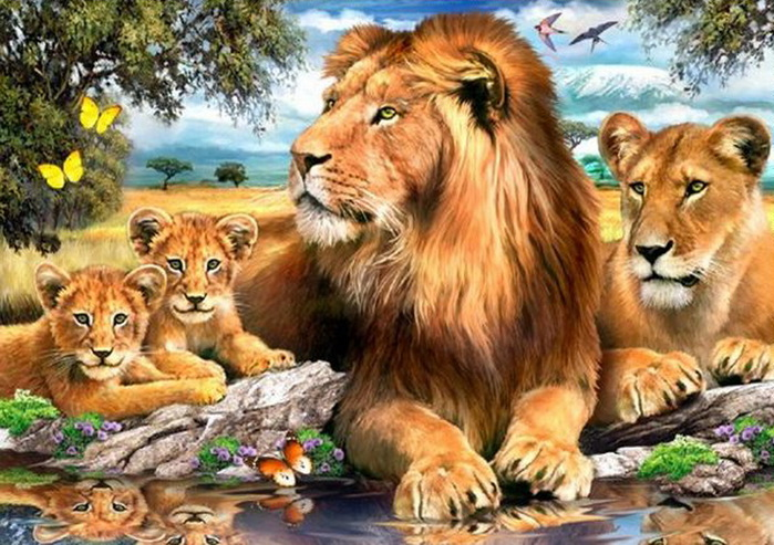 """Оригинал схемы вышивки  """"Семейство львов """" ."""