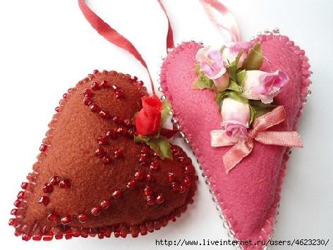 Валентинки из ткани своими руками фото
