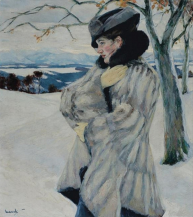 Edward Cucuel - Girl in Fur Coat (623x700, 376Kb)