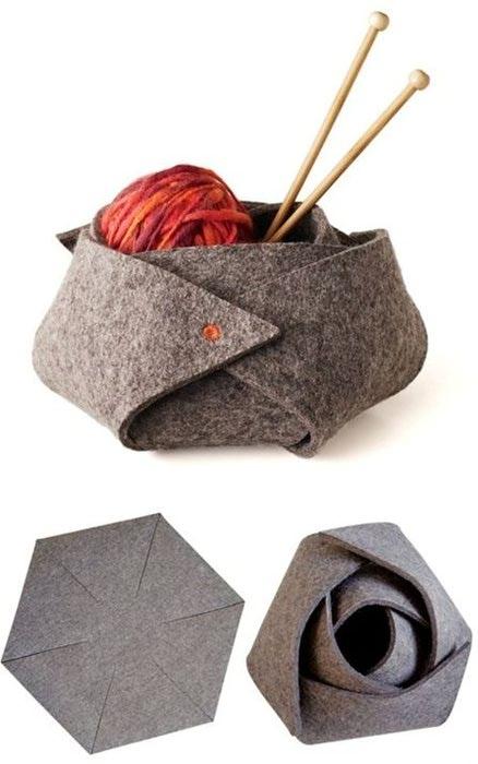 Фотография говорит сама за себя, не правда ли.  Такую корзиночку можно использовать не только для вязания...