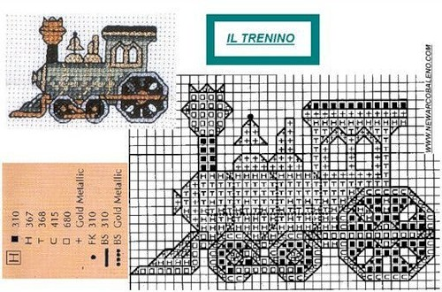 Схема для вышивки паровоз