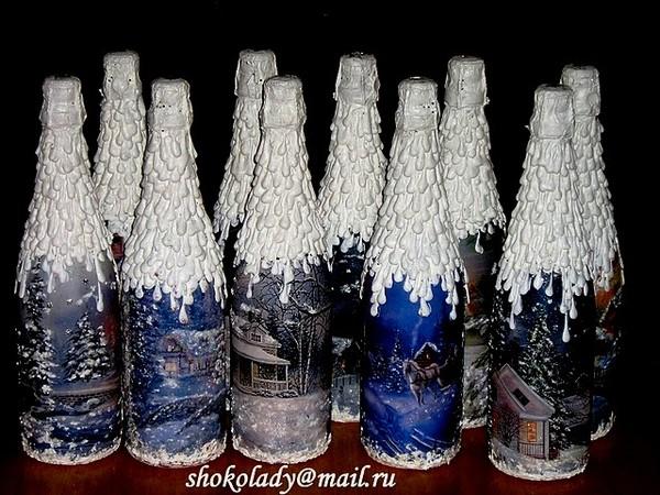 Бутылка декор на новый год