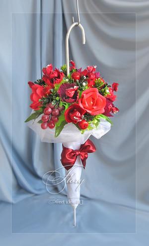 Зонт из цветов и конфет 103