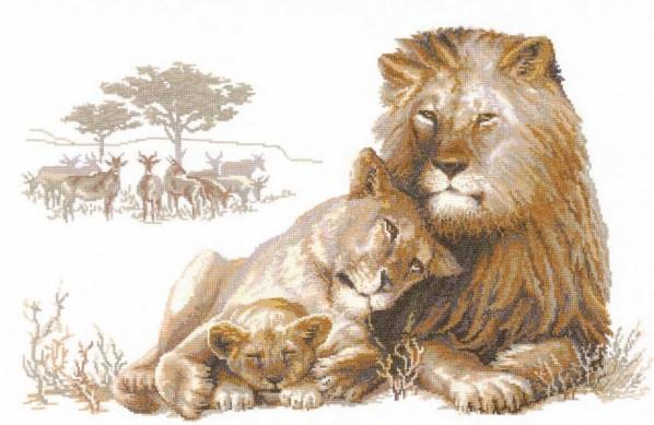 Вышивка крестом лев львица