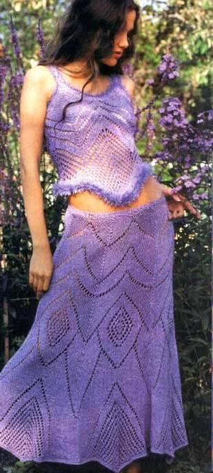 Ажурная юбка спицами