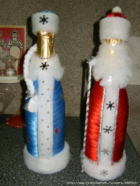 Оформление бутылок своими руками на новый год