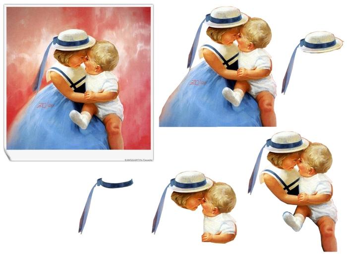 petite fille bleue et bébé (700x525, 177Kb)