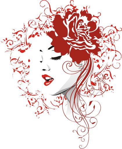 Девушка с розой в волосах.