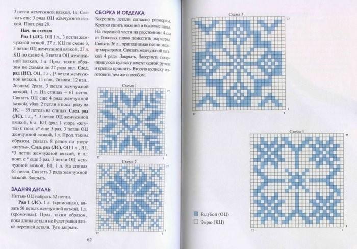 Узор снежинки для вязания на спицах 357