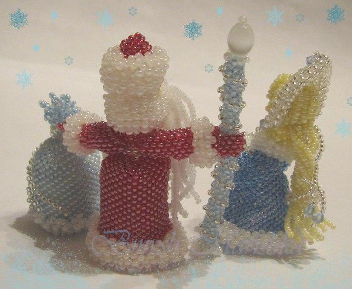 Снегурочка из бисера своими руками