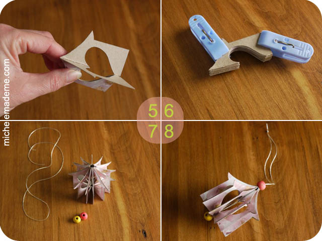 Paper Hanging Heart House Ornament steps 5-8 (640x480, 81Kb)