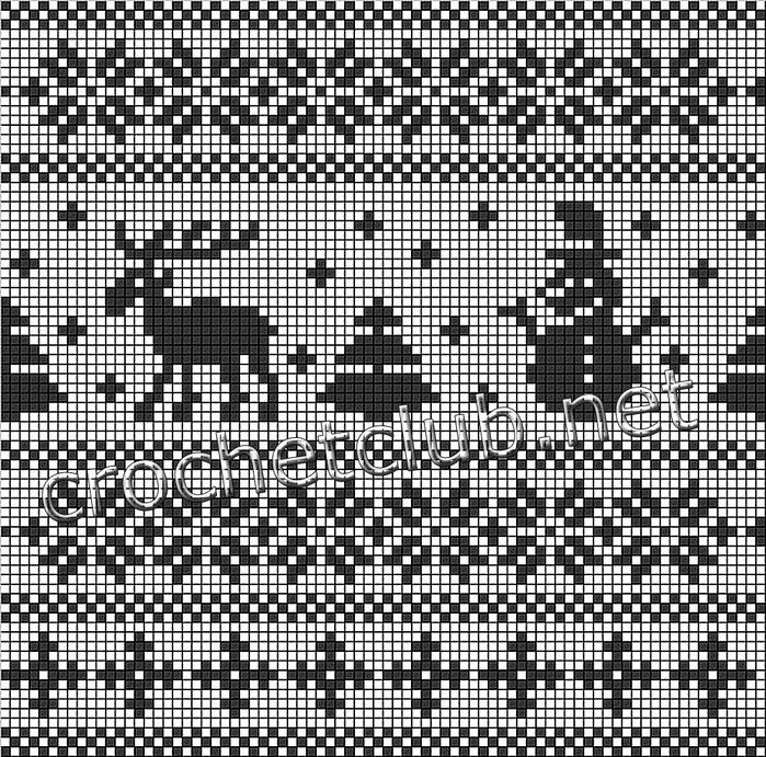 снежинки, олени, схемы,