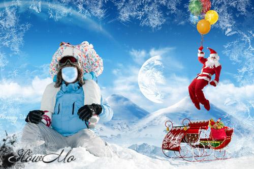 Парный шаблон для фотошопа - Папа с дочкой в гостях у Санты/1355415313_Cover_family_visiting_Santa (500x332, 98Kb)