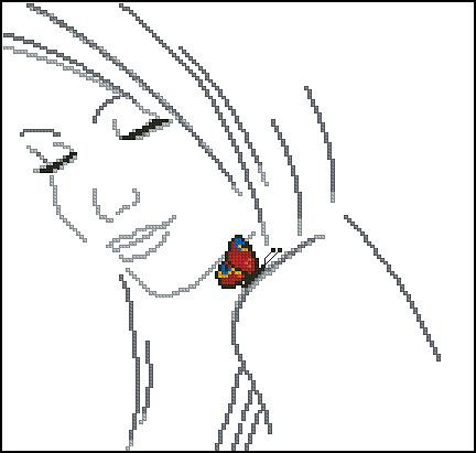 Девушки с бабочкой- монохром