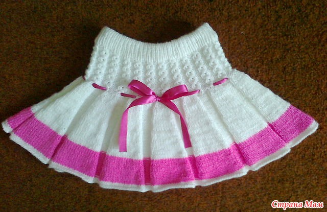 Вязаные детские юбки спицами