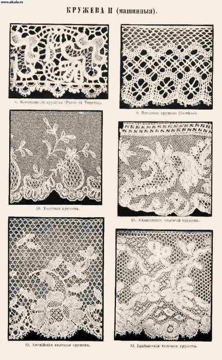 ...Шитый гипюр с изящным узором (мелкие растительные побеги, фигурки людей, амуров и др.) изготовлялся в Алансоне...