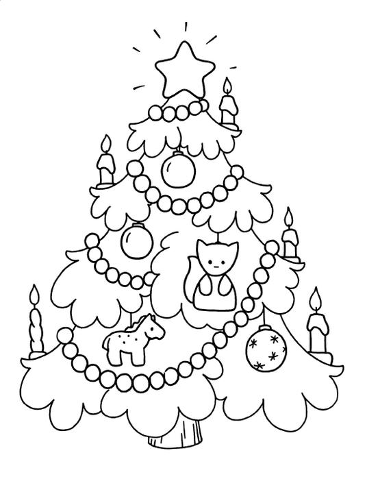 Раскраска елка в игрушках
