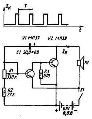 В таком мультивибраторе использованы транзисторы разной структуры: Vl - n - p - n (МП35 - МП38), V2 - p - n...
