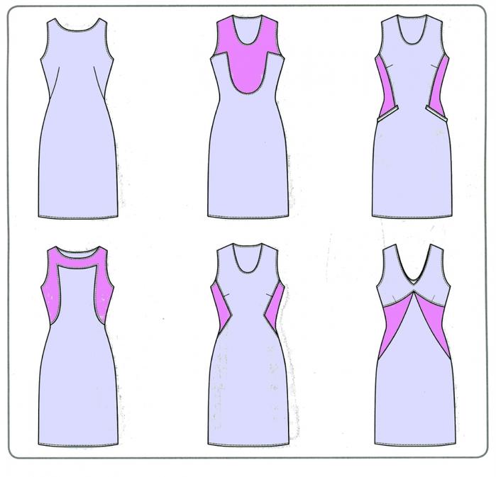 Моделирование платья Варианты перевода выточек