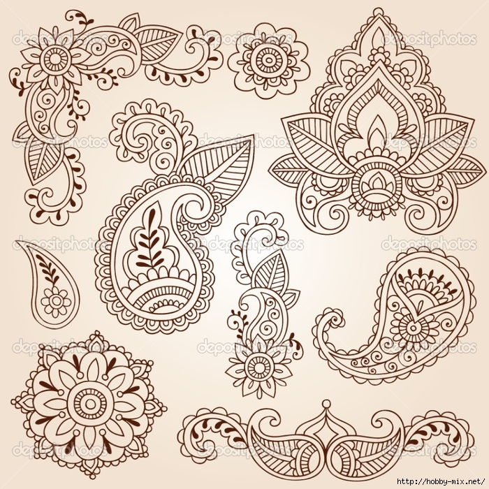 depositphotos_8410127-Henna-Mehndi-Paisley-Flowers-Doodle-Vector-Design-Elements (700x700, 460Kb)