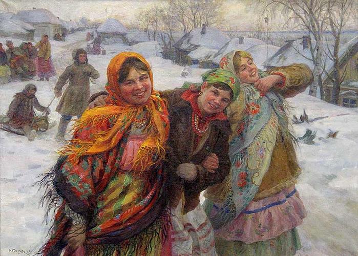 Праздничный день. Подруги. Зима.1941. (700x500, 336Kb)