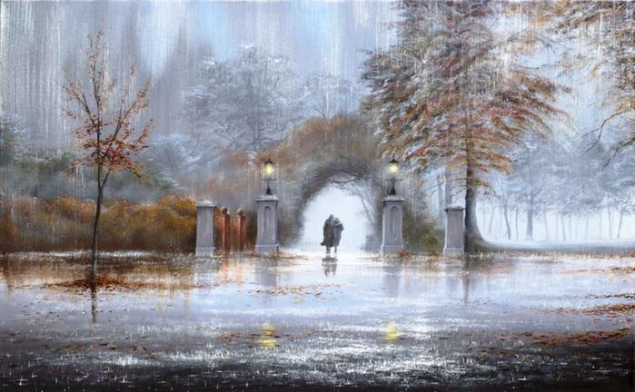 Jeff Rowland, арка, двое, дождь, картина, осень, парк, фонари.