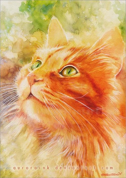 кошки в картинах Aurora Wienhold 3 (497x700, 305Kb)