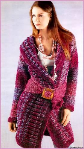 Вязаное пальто из