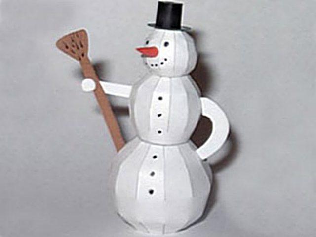 Такой объемный снеговик из