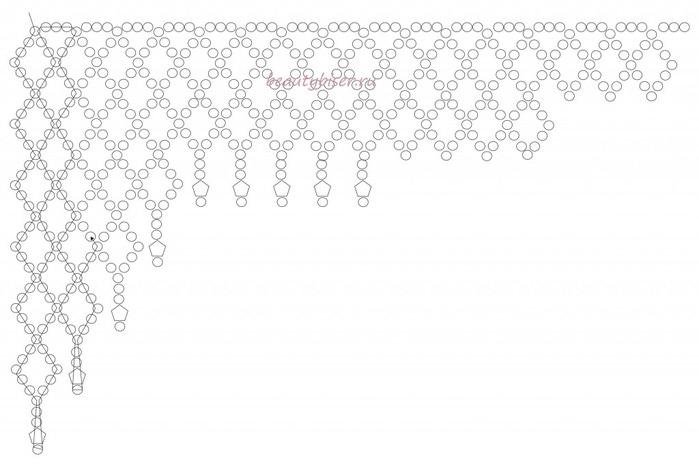 сетка. с различным количеством ромбов в высоту.  При плетении основы, бусины приплетаются сразу.