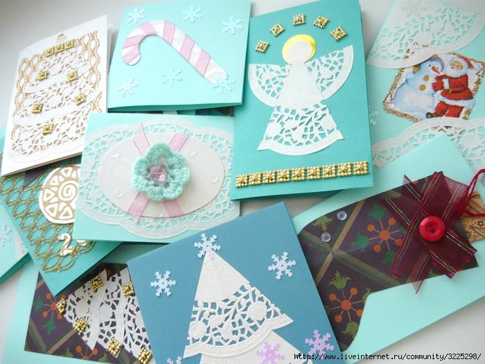Как сделать на рождество открытку 4