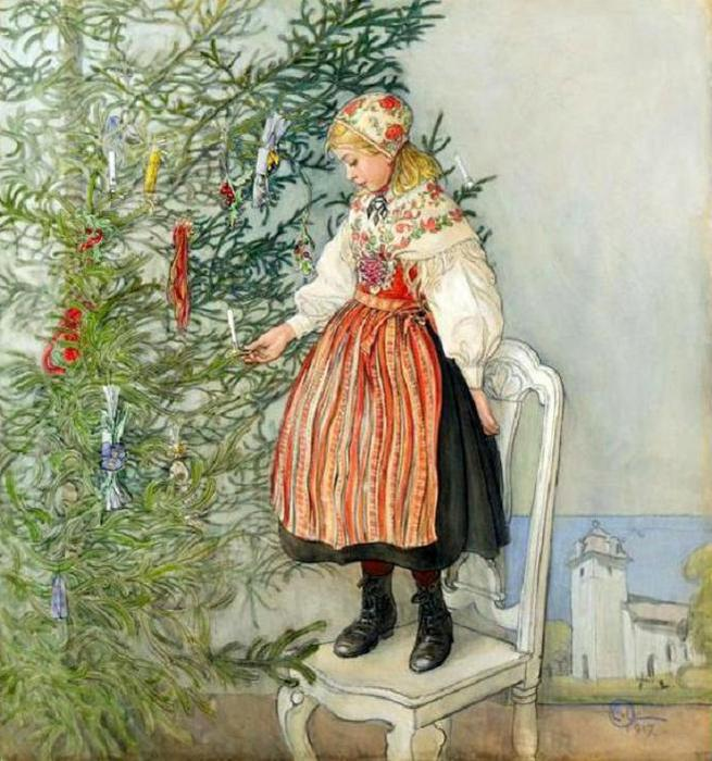 Carl Larsson (1853 – 1919, Swedish)decorating-the-tree (655x700, 83Kb)