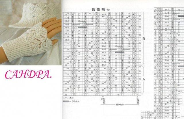 Схемы вязания для митенок спицами схема 594