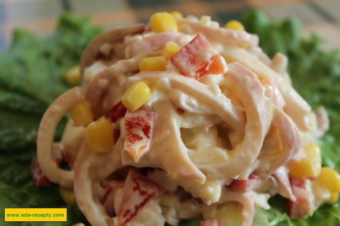 Салат рецепт с кальмары рецепт