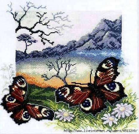Пейзаж с бабочками.