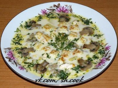 Сырный суп с грибами и курицей (400x300, 66Kb)