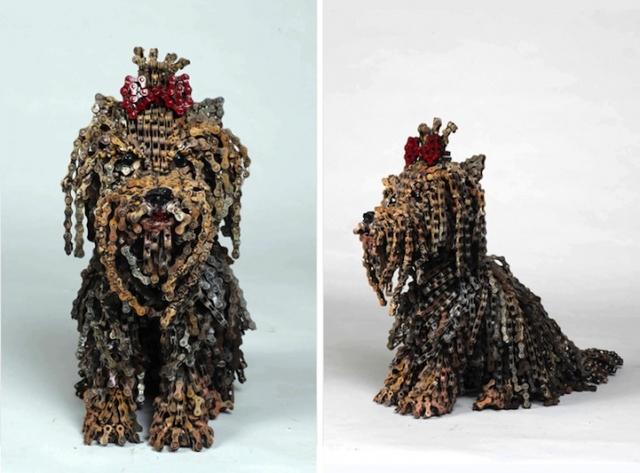 скульптуры собак из велосипедных деталей 7 (640x473, 192Kb)