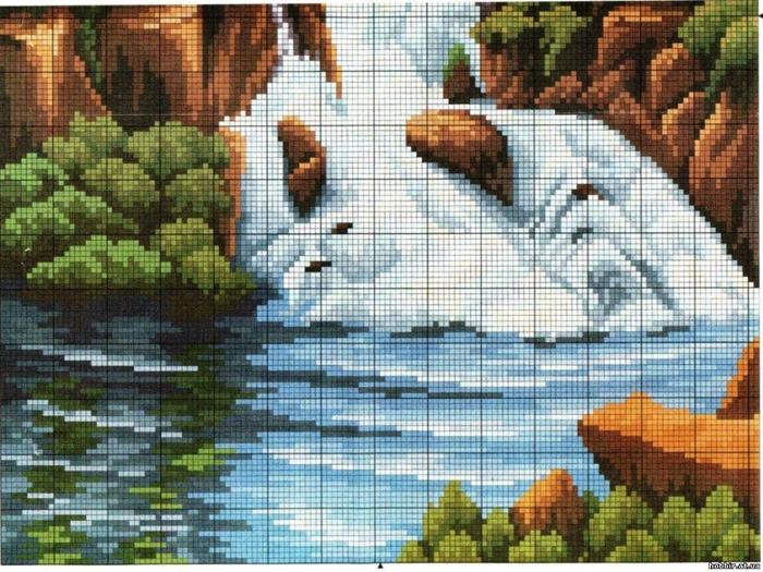 Вышивание водопадов крестиком
