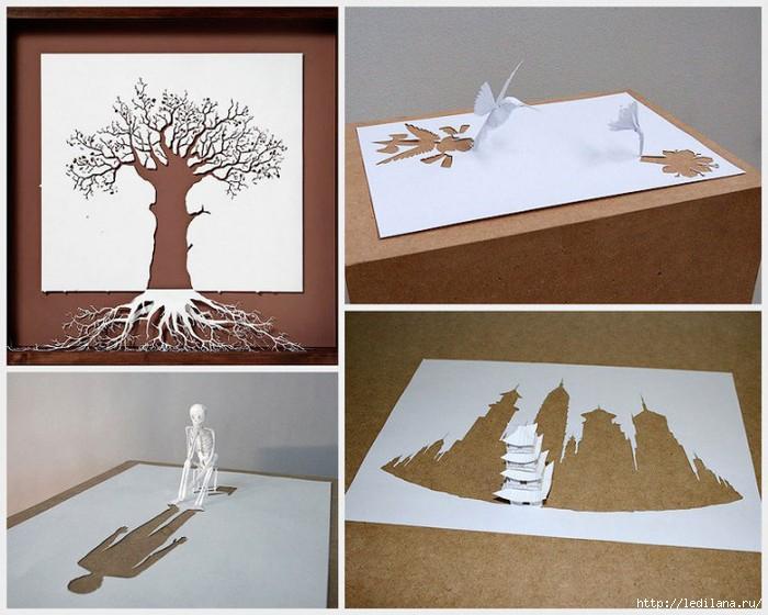 Скульптуры из одного листа бумаги (700x560, 206Kb)