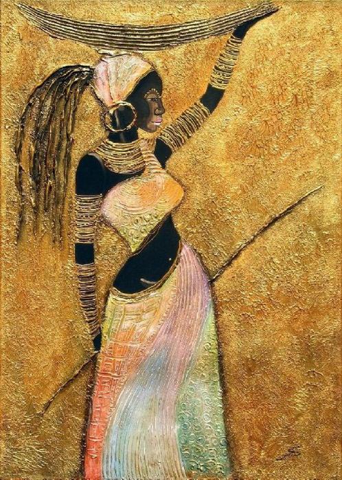 Африканка с корзиной (498x700, 168Kb)