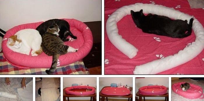 Как сделать кровать для кота своими руками из коробки