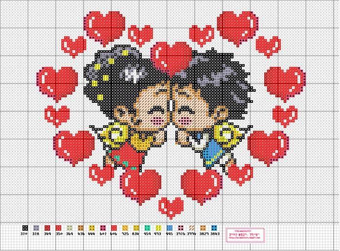 Схема вышивки сердечки маленькие