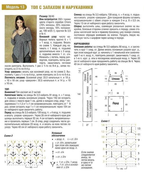 Модели и схемы вязания кардиганов и топов