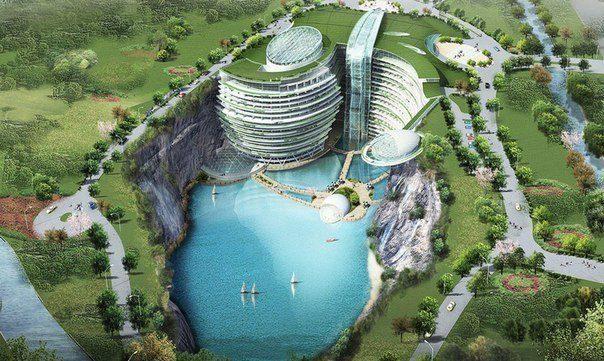 Шикарный отель в заброшенном карьере под Шанхаем (604x361, 74Kb)